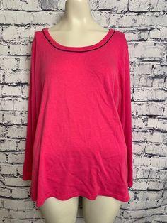 0e56b0998bb Liz Claiborne Women Plus Size 3X Solid Pink Long Sleeve Scoop Neck Casual  Shirt  LizClaiborne