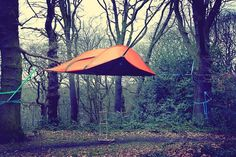 'Tentsile Stingray' and it's a tent that can be set up on the ground normally, or suspended in the air with the aid of 3 high-capacity tree-...