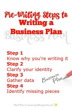Use these pre-writing steps to writing a business plan. Great for nonprofits, ministries, freelance writers and small businesses. With Word Wise at Nonprofit Copywriter Free Business Plan, Writing A Business Plan, Freelance Writing Jobs, Business Plan Template, Business Planning, Writing Resources, Writing Tips, Copywriter, Pre Writing