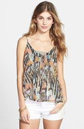 RVCA 'Mode Archaic' Print Lace-Up Woven Tank (Juniors)