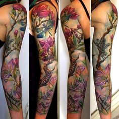 Cool and Pretty Sleeve Tattoo Designs for Women - tattoos sleeve Nature Tattoo Sleeve, Full Sleeve Tattoo Design, Full Sleeve Tattoos, Sleeve Tattoos For Women, Nature Tattoos, Body Art Tattoos, Tattoos For Guys, Tattoo Sleeves, Fairy Sleeve Tattoo