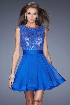 Deals 2015 Exquisite Homecoming Dresses Scoop Neckline Mesh Illusion Dark Royal Blue