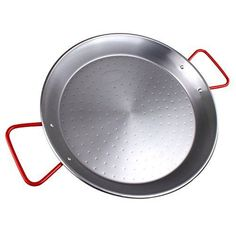 The Hungry Cuban Carbon Steel Paella Pan with Red Handle, 15-Inch-by-38-cm