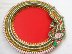 Thali Decoration Ideas, Diwali Decorations, Festival Decorations, Wedding Gift Wrapping, Wedding Gifts, Yellow Kurti, Acrylic Rangoli, Homemade Dolls, Basket Tray