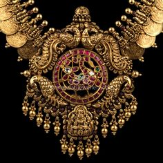 Kameswari Jewellers says… Antique Jewellery Designs, Gold Earrings Designs, Gold Jewellery Design, Antique Jewelry, Gold Temple Jewellery, Gold Wedding Jewelry, Kasumala Designs, Siri, Indian Jewelry