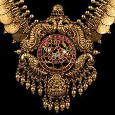 Buy Necklaces Online | Heritage Kasumala with Uncut ruby Peacock from Kameswari Jewellers