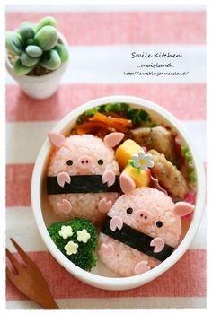 Piggy rice balls bento (featuring how-to recipe! Bento Recipes, Baby Food Recipes, Bento Ideas, Cute Food, Yummy Food, Japanese Food Art, Japanese Lunch Box, Cute Bento Boxes, Kawaii Bento