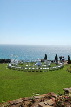 Fairytale Oceanside Wedding  Spiral ceremony seating