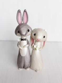 Rabbit Wedding Cake Topper - personalized animal clay cake topper and keepsake - bunny figurine by Heartmade Cottage Rabbit Wedding, Bear Wedding, The Wedding Date, Wedding Ideas, Wedding Topper, Wedding Cakes, Cake Templates, Personalized Wedding Cake Toppers, Cute Polymer Clay