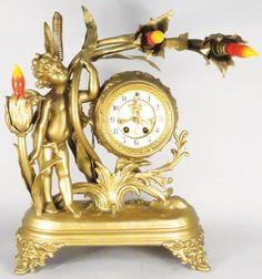 Antique Gilbert Gilt Art Nouveau Clock Lam