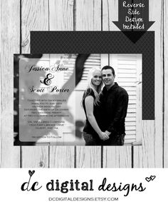 Picture Wedding Invitation Picture Black  by DCDigitalDesigns