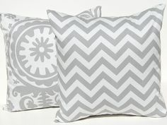 Decorative Throw Pillow Covers Chevron and Suzani Accent  Pillows Cushion Covers - 20 x 20 Inches - Storm Gray and White Suzani and Chevron.. $34.00, via Etsy.