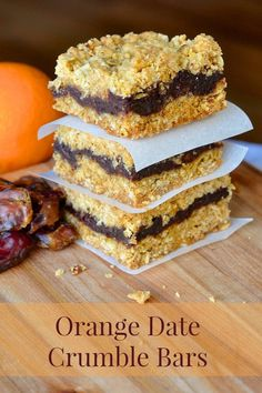 """Orange Date Crumble Bars – a delicious citrus twist on traditional date crumbles or """"Matrimonial Bars"""". The buttery oatmeal and coconut crumble is what makes this recipe the best. This recipe is one my mom often Baking Recipes, Cookie Recipes, Dessert Recipes, Donuts, Newfoundland Recipes, Biscuits, Delicious Desserts, Yummy Food, Rock Recipes"""