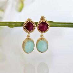 Valentine's Day Sale - gold ruby earrings,gold earrings,vintage earrings,dangle earrings,amazonite earrings,bridesmaid earrings on Etsy, 44,60€