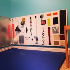 Homemade Sensory Board and Busy Board combined. Read how to make your own.