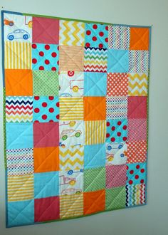 Colorful baby quilt  32x44 FREE SHIPPING by SewSara on Etsy, $110.00