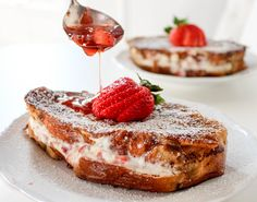 Strawberries and Cream Stuffed French Toast with Strawberry Maple Syrup