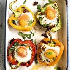 Amelia Freer's roasted peppers with baked eggs, a quick vegetarian recipe from www.redonline.co.uk
