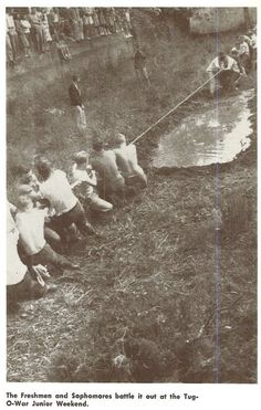 Annual underclass tug-of-war in the Millrace 1948 during Junior Weekend. From the 1948 Oregana (University of Oregon yearbook). www.CampusAttic.com