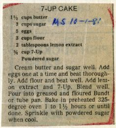 7-Up #Cake :: Historic Recipe Clipping