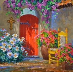 (usa) Explosion of color by Mikki Senkarik ). Garden Painting, Diy Painting, Beautiful Paintings, Beautiful Landscapes, Let's Make Art, Pintura Exterior, Painting Lessons, Whimsical Art, Pictures To Paint