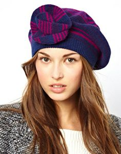 ALICE HANNAH Angora Lambswool Stripe Corsage Beret Asos Online Shopping 673f252de9