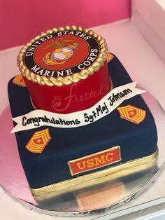 Army Cake, Military Cake, Military Party, Usmc Birthday, Marine Corps Birthday, Military Retirement Parties, Retirement Cakes, Marine Wedding Cakes, Marine Corps Cake
