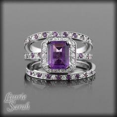 SVC-JEWELS 14k Black Gold Plated Round Cut Created Purple Amethyst Three Stone Mens Wedding Band Anniversary Ring