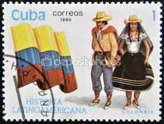 Cuba - Circa 1990 : Un timbre imprimé en Cuba dédié à l'histoire latino-américaine, costume typique de spectacles et drapeau de la Colombie, circa 1990 — Image #10209099