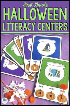 My first grade kids love these Halloween literacy center punch cards! Perfect practice for CVC words. They would be great for kindergarten too! Lots of ideas here for all your centers. Teacher Halloween Costumes, Halloween Words, Halloween Math, Easy Halloween Crafts, Halloween Activities, Halloween Stuff, Halloween Makeup, Learning Centers, Literacy Centers