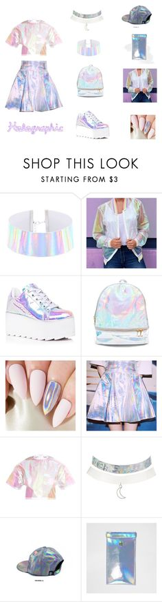 """""""Holographic"""" by atene-ziema ❤ liked on Polyvore featuring Y.R.U., 3 AM Imports, Charlotte Russe and River Island"""
