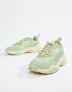 image.AlternateText Green Trainers, Green Sneakers, Dad Sneakers, Puma Sneakers, Asos, University Bag, Baskets Vertes, Puma Outfit, Student Fashion