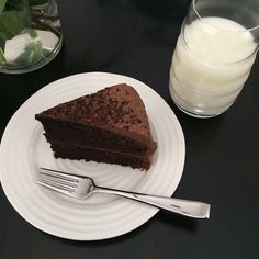double-chocolate layer cake from last night's diner. Afternoon Snacks, Frosting, Layers, Sunday, Chocolate, Baking, Cake, Ethnic Recipes, Desserts