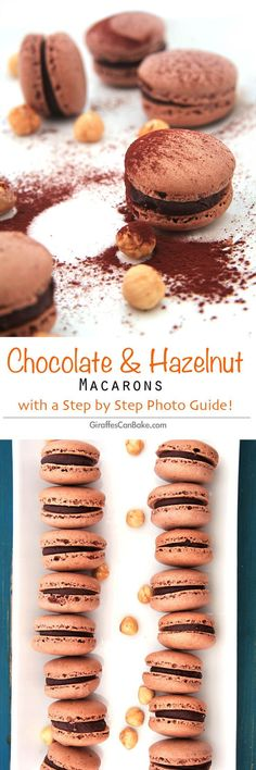 Chocolate and Hazelnut Macarons with Step By Step Photo Guide by Giraffes Can Bake - French Macarons made with ground hazelnuts and filled with a nutella ganache. #food #dessert #macarons