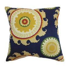 "Add a pop of color to your favorite chaise or arm chair with this cotton pillow, showcasing a suzani medallion motif and down fill. Made in the USA.     Product: PillowConstruction Material: Cotton cover and down fillColor: Blue and goldFeatures:  Insert includedHidden zipper closureMade in the USA Dimensions: 18"" x 18"" Cleaning and Care: Spot clean"