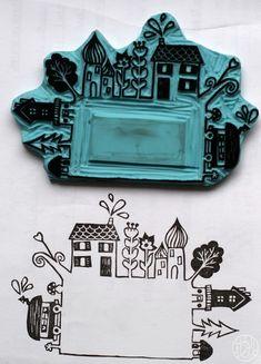 Défi gravure 25/52 - Un étiquette à maisons :)