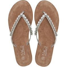 M&Co Diamante Flip Flop ($33) ❤ liked on Polyvore featuring shoes, sandals, flip flops, silver, sparkle shoes, silver shoes, silver flip flops, silver sparkly flip flops and special occasion sandals