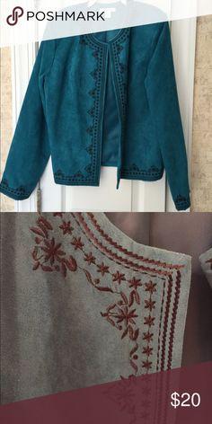 Lined embroidered jacket Beautiful Jade embroidered jacket Dress Barn Jackets & Coats