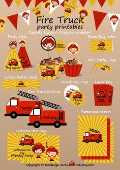 Fire Truck Printable Birthday Set - Printbale PDF. $10.00, via Etsy.