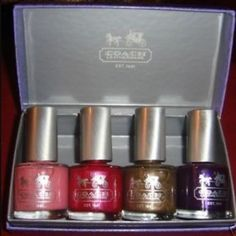 Authentic Coach 4 nail polish set Coach 4 piece nail polish set! The nail polish is brand new. The colors are a reddish pink, brown, purple and light pink. They come in this cute purple coach box. These are 4 full size bottles Coach Makeup Brushes & Tools