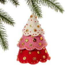 Tiered Red Tree Felt Holiday Ornament - Silk Road Bazaar (O) Women in Kyrgyzstan made this ornament by hand from felt. With a loop for hanging and accented with sequins and beads, the ornament measures 5 inches tall. Whimsical Christmas Trees, Felt Christmas Decorations, Felt Christmas Ornaments, Handmade Christmas, Christmas Crafts, Embroidered Christmas Ornaments, Handcrafted Christmas Ornaments, Christmas Tables, Christmas Patterns