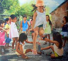 luksong tinik - our game when we were little Filipino Art, Filipino Culture, Foto Picture, Photo Art, Woman Painting, Figure Painting, Childhood Memories Quotes, Childhood Games, Carl Spitzweg