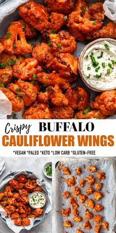 Cauliflower Buffalo Wings Vegan, Baked Cauliflower Bites, Paleo Cauliflower Recipes, Buffalo Chicken Bites, Vegetarian Recipes, Califlower Recipes, Cooking Recipes, Healthy Recipes, Roasted Cauliflower