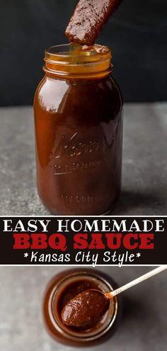Easy Bbq Sauce, Homemade Bbq Sauce Recipe, Barbecue Sauce Recipes, Barbeque Sauce, Pulled Pork Recipes, Bbq Sauces, Bbq Rib Sauce, Pulled Pork Bbq Sauce, Grilling Recipes