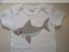 Gray SHARK with light blue belly. My original, free-hand artwork is cut out onto pre-washed fabrics, ironed on, and then sewn onto a cozy Onesies, Baby Onesie, Sewing Appliques, Hai, Baby Shark, Long Sleeve Bodysuit, Applique Designs, Baby Sewing, Future Baby