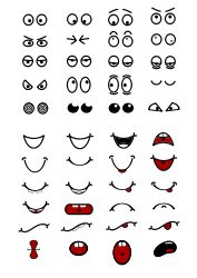 Cartoon Mouth n Eyes by hatso1 - Selection of eyes and mouths for use with the lemling style cartoons
