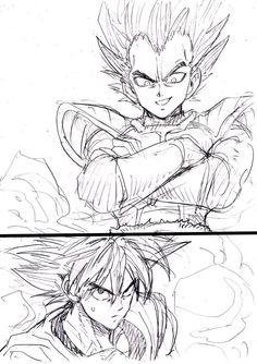 Yusuke Murata (One Punch Man) dessine Gokû et Vegeta.