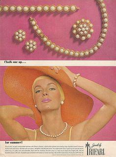 1964 TRIFARI Summer Saturn Rings Parure Vintage Costume JEWELRY Photo Print Ad