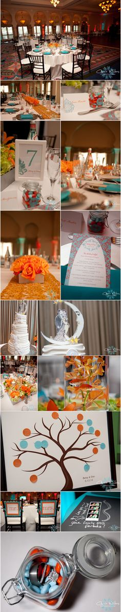#orange and #aqua #wedding details! sign in tree, goldfish #renaissance Vinoy #st pete