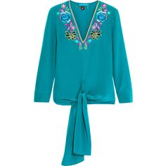 Matthew WilliamsonSakura Embroidered Silk Crepe De Chine Top (£550) ❤ liked on Polyvore featuring tops, light blue, silk top, teal top, flower top, colorful tops and embroidered top
